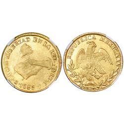 Guanajuato, Mexico, 4 escudos, 1838PJ, NGC VF 35.