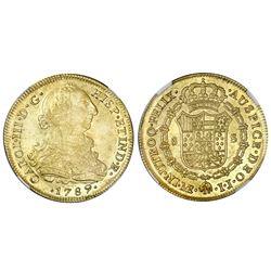 Lima, Peru, bust 8 escudos, Charles III, 1789IJ, NGC AU 53.