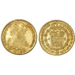 Lima, Peru, bust 4 escudos, Charles III, 1780MI, rare.