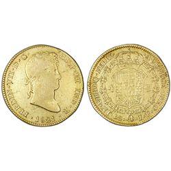 Lima, Peru, bust 4 escudos, Ferdinand VII, 1821JP.