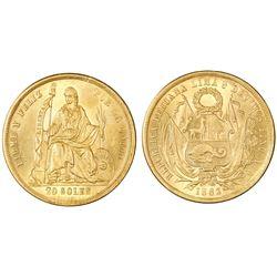 """Lima, Peru, 20 soles, 1863YB, """"angel wings"""" die-clash."""