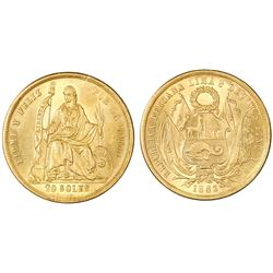 "Lima, Peru, 20 soles, 1863YB, ""angel wings"" die-clash."