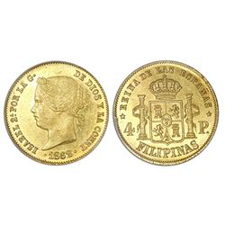 Philippines, 4 pesos, Isabel II, 1862, PCGS MS61.