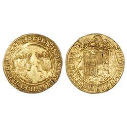 Toledo, Spain, double excelente, Ferdinand-Isabel, assayer five-dot-cross to left, mintmark T to lef