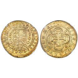 Seville, Spain, milled 8 escudos, Philip V, 1717/6M, S-8-M-8 outside quatrefoil, NGC AU 55.