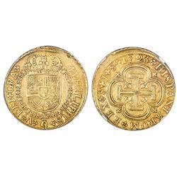 Seville, Spain, milled 8 escudos, Philip V, 1726J, NGC AU 50.