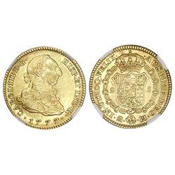 Madrid, Spain, bust 2 escudos, Charles III, 1777PJ, NGC AU 55.