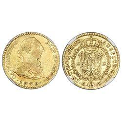 Madrid, Spain, bust 2 escudos, Charles III, 1779/8PJ, unlisted overdate, NGC AU 53.