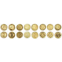 Lot of eight Spain bust 1/2 escudos of Charles III: 1760JP, 1761JP, 1772PJ, 1775PJ, 1778CF, 1786DV,
