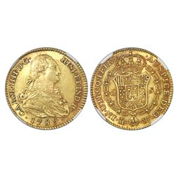 Madrid, Spain, bust 2 escudos, Charles IV, 1789MF, NGC MS 61, finest known in NGC census.
