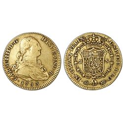 Madrid, Spain, bust 2 escudos, Charles IV, 1793MF.