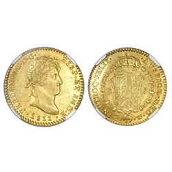 "Cadiz, Spain, bust 2 escudos, Ferdinand VII (laureate bust), 1811CJ, inverted ""CI,"" NGC AU 53, fines"