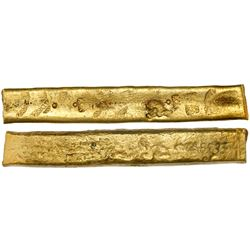 "Atocha gold ""finger"" bar #33, 622 grams, marked with fineness XX-dot (20-1/4K) three times, foundry"