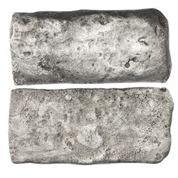 "Silver ""tumbaga"" bar #M-39, 2249.9 grams, marked with fineness …C…XXX (unclear), and partial tax sta"