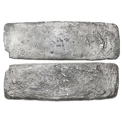 "Silver ""tumbaga"" bar #M-105, 3595 grams, marked with assayer B~Vo, serial RC, fineness IVCC L (1250/"