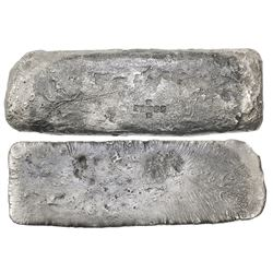 "Silver ""tumbaga"" bar #M-114, 3065 grams, marked with fineness IV III L X X (1370/2400, 57.08% fine)"