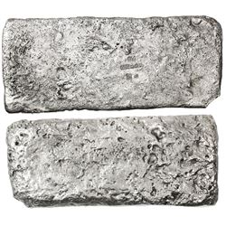 Silver  tumbaga  bar #M-147, 5357 grams, marked with assayer BRAo, serial RC, fineness Ivcc x x x (1