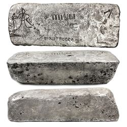 Large silver Atocha bar #779 from Potosi, 92 lb 3.84 oz troy, Class Factor 1.0, with markings of min