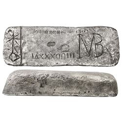 Large silver Atocha ba #723 from Potosi, 60 lb 7.68 oz troy, Class Factor 1.0, with markings of mine