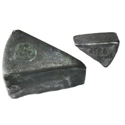 "Very small silver ""wedge"" ingot (probably contraband), 259 grams, ex-1715 Fleet."