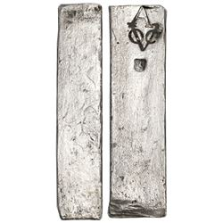 Neatly formed silver ingot, 1970 grams, about 98.5% fine, with stamps of the Amsterdam chamber of th