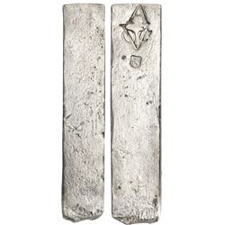 Neatly formed silver ingot, 1965 grams, about 98.5% fine, with stamps of the Amsterdam chamber of th
