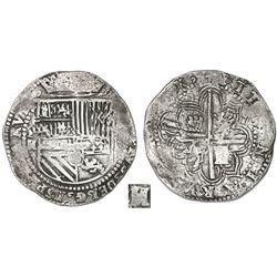 Potosi, Bolivia, cob 8 reales, Philip II, assayer M (very rare second assayer of the mint), Grade 1.