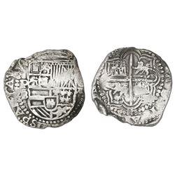 Potosi, Bolivia, cob 8 reales, Philip II, assayer B (5th period), Grade 1.