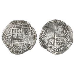 Potosi, Bolivia, cob 8 reales, Philip III, assayer R (curved leg), Grade 1, certificate missing.