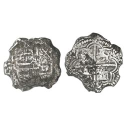 Potosi, Bolivia, cob 8 reales, Philip III, assayer R (curved leg), Grade 3.