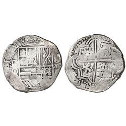 Potosi, Bolivia, cob 8 reales, Philip III, assayer Q, Grade 1, certificate missing.