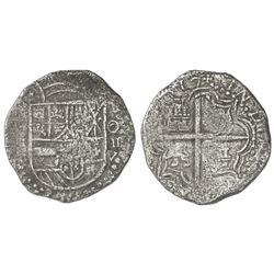 Potosi, Bolivia, cob 8 reales, (16)17M, denomination O-III-V, Grade 2.
