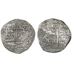 Potosi, Bolivia, cob 8 reales, Philip III, 1(6)19(T), Grade 3.