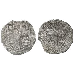 "Potosi, Bolivia, cob 8 reales, 1620T, quadrants of cross transposed, mintmark ""q,"" Grade 1."