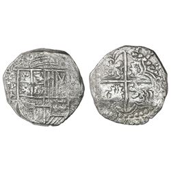 Potosi, Bolivia, cob 8 reales, Philip III, assayer T, quadrants of cross transposed, Grade 2.