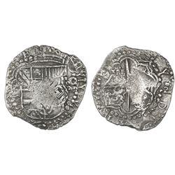 Potosi, Bolivia, cob 8 reales, Philip III, assayer not visible, flipover double-strike, Grade 1.