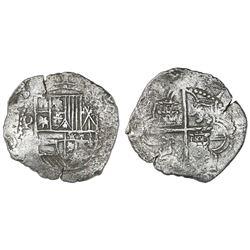 Potosi, Bolivia, cob 8 reales, Philip III, assayer not visible, Grade 2, ex-San Diego Show auction (