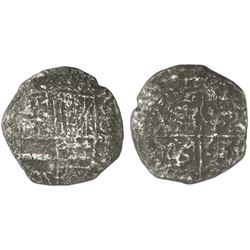 "Potosi, Bolivia, cob 8 reales, Philip III, assayer not visible, Grade 4 (""12 points""), with hand-sig"