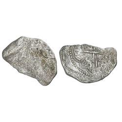 Potosi, Bolivia, cob 8 reales, Philip III, assayer not visible, no Grade (fragment).