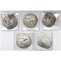 Lot of five Potosi, Bolivia, cob 8 reales, Philip II and III, assayers Q and not visible, Grade 3 (o