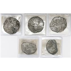 Lot of five Potosi, Bolivia, cob 8 reales, Philip II and III, assayers R (curved leg), T and not vis