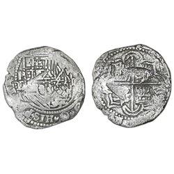 Potosi, Bolivia, cob 4 reales, Philip II, assayer B (3rd period), Grade 2.