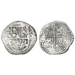Potosi, Bolivia, cob 4 reales, Philip III, assayer R (curved leg), Grade 1.