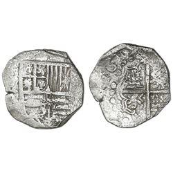 Potosi, Bolivia, cob 4 reales, 1619(T), Grade 1.
