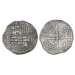 Potosi, Bolivia, cob 4 reales, Philip III, assayer T, Grade 1.
