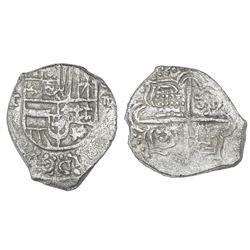 Potosi, Bolivia, cob 4 reales, Philip III, assayer T, Grade 2.