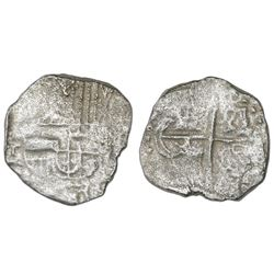 Potosi, Bolivia, cob 4 reales, Philip III, assayer not visible, Grade 2.