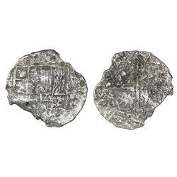Potosi, Bolivia, cob 4 reales, Philip III, assayer not visible, Grade 4.