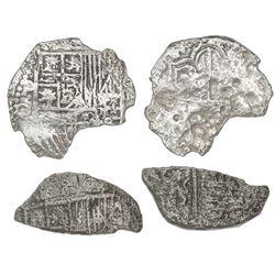 Lot of two Potosi, Bolivia, cob 4 reales, Philip III, assayers not visible, no Grade (fragments).