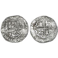 Potosi, Bolivia, cob 2 reales, Philip II, assayer B (1st period), Grade 1.